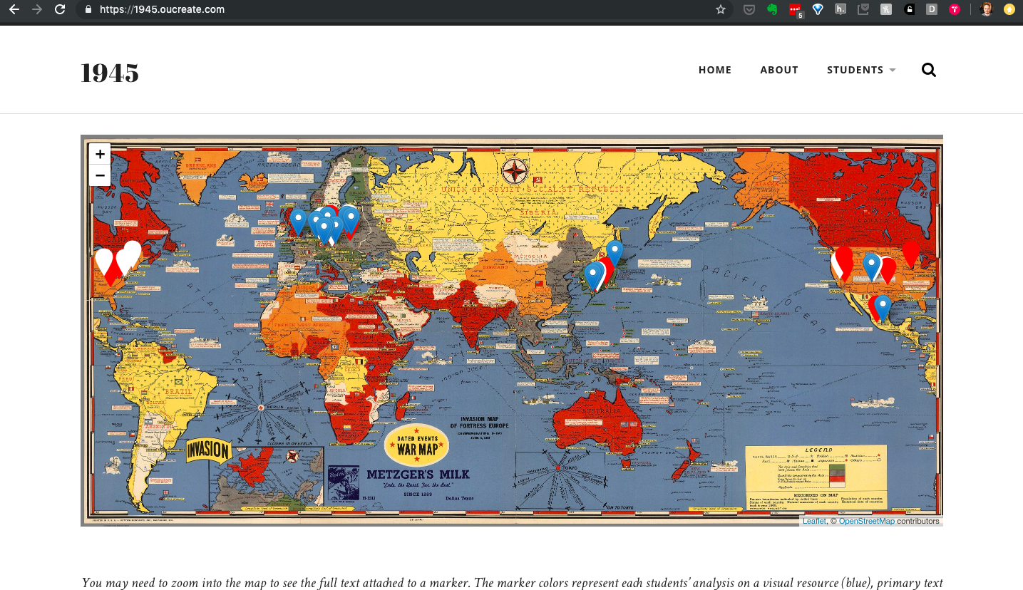 Screenshot of the 1945 website depicting the site's main world map with pins for student projects.